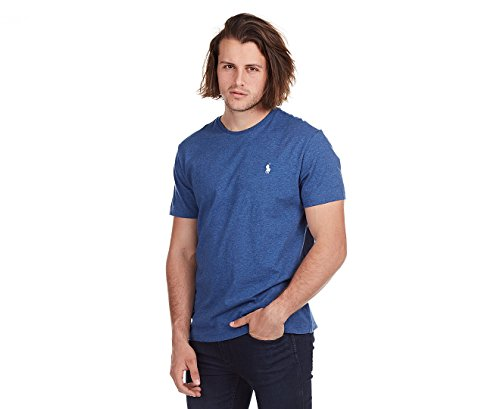 Polo Ralph Lauren Mens Classic Fit Solid Crewneck T-Shirt (XX-Large, Royal Blue Heather/White - Solid Crew Neck Tee