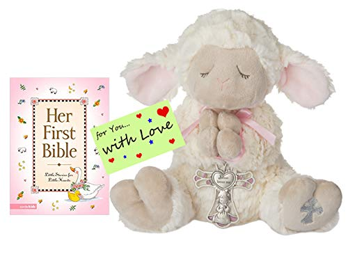 Easter Religious Baptism Shower Gifts for Girls Serenity Lamb w/Crib Cross and Her First Bible Stories