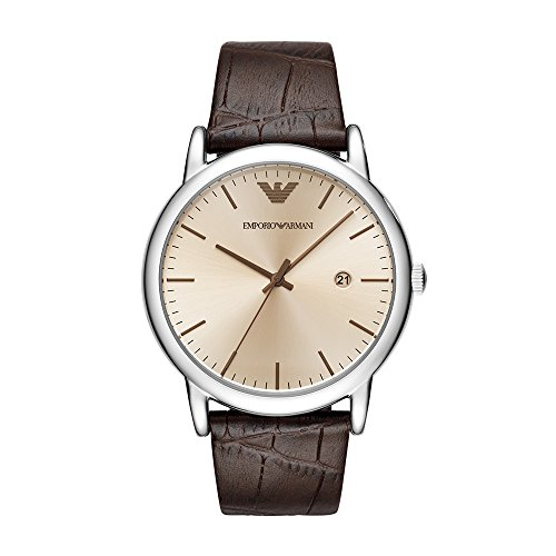 Emporio Armani Men's 'Dress' Quartz Stainless Steel and Leather Casual Watch, Color:Brown (Model: AR11096)