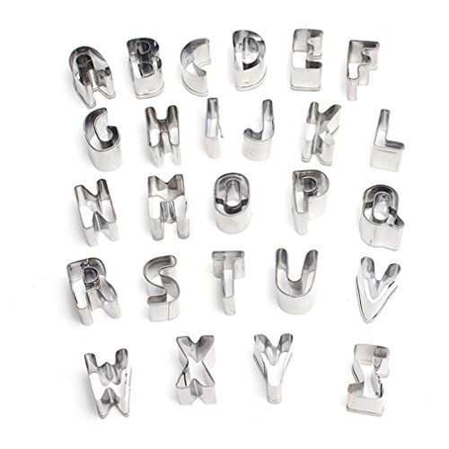 FantasyDay Classic Mini Alphabet Fruit Cookie Cutter Kit Stainless Steel Pastry Cutters Set for Biscuits, Dough, Fondant, Donuts - 26-Piece Letters Fondant Cutters #2