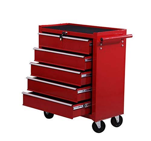 HOMCOM Fahrbarer Werkstattwagen Werkzeugwagen Rollwagen Werkzeugkasten mit 5 Schubladen rot E2-0004
