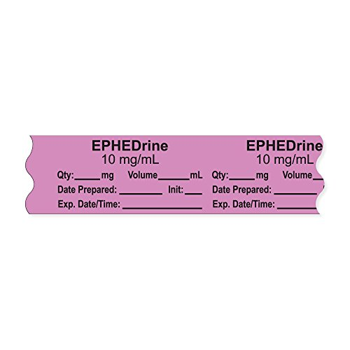 PDC Healthcare AN-2-5D10 Anesthesia Tape with Exp. Date, Time, and Initial, Removable, ''EPHEDrine 10 mg/mL'', 1'' Core, 3/4'' x 500'', 333 Imprints, 500 Inches per Roll, Violet (Pack of 500) by PDC Healthcare