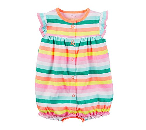 Carter's Baby Girls' Striped Cupcake Snap Up Romper Newborn Pink ()
