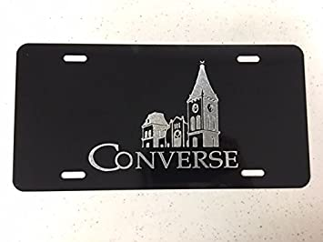 Wofford College Logo Car Tag Diamond Etched on Black Aluminum License Plate