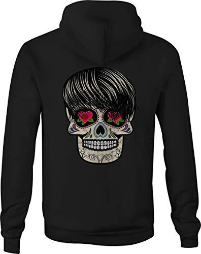 - Motorcycle Zip Up Hoodie Sugar Skull Tattoo Rose Heart Eyes - XL Black