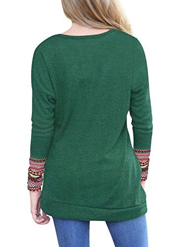 Lunghe Felpa Lylafairy Shirt Maglietta T Maniche Donna Casual Verde03 Camicia pqq8E