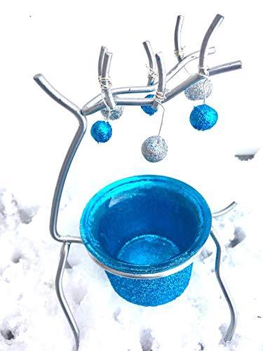Reindeer Votive - Choice of Icy Blue Glitter or Green Polka Dot Ribbon
