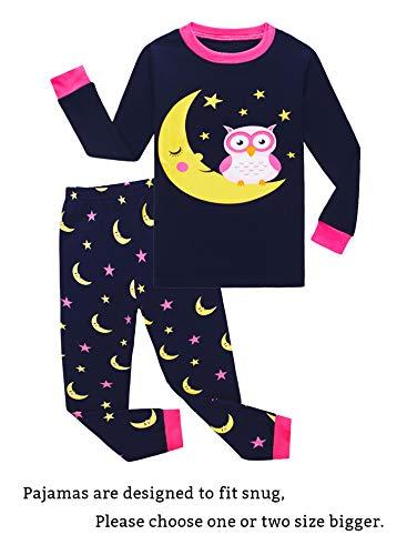 Moon Owl Little Girls Long Sleeve Pajamas Sets 100% Cotton Pyjamas Toddler Kids Pjs Size 2T