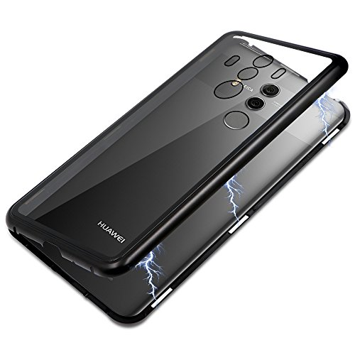 Huawei Mate 10 Pro Case, Diaxbest Ultra Slim Magnetic Adsorption Phone Case, Full Body Metal Frame Hard Clear Tempered Glass Back Cover Compatible Huawei Mate 10 Pro (Clear Back+Black Frame) by Diaxbest