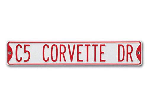 Corvette Street Sign C5 Corvette Drive Steel Sign Embossed Enamel