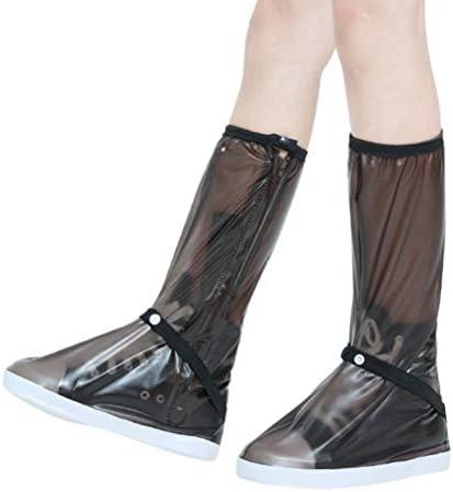 ジッパー付き防水シューズカバー、レインシューズブーツカバー、雨や雪に覆われた日メンズレディース用オーバーシューズ (Color : Black, Size : XL)