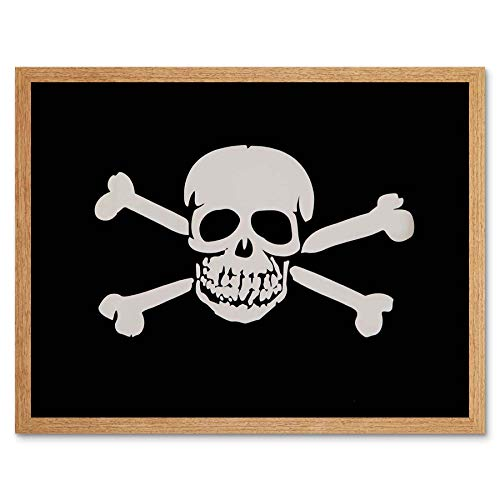 Wee Blue Coo Skull and Cross Bones Pirate Skelton Halloween Art Print Framed Poster Wall Decor 12x16 inch -