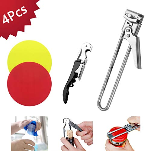 Jar Openers, Bottle Can Openers, All in One Multi Opener Tool, Silicone Jar Grippers, Jar Can Lid Wine Opener for Weak Senior Arthritis Hands