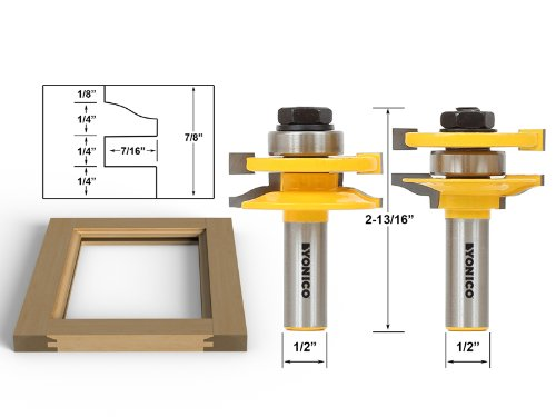 Yonico 12236 Rail and stile Router Bit Set with Matched 2 Bit Large Ogee 1/2-Inch Shank - Cabinet Door Bit