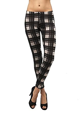 Checkered Pattern Skinny Full-length Thick Wool Stretch Leggings (Large, HeatherGrey/Black)