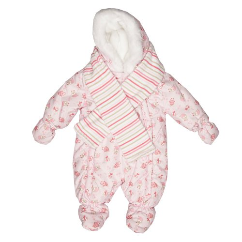 Zip Zap Baby's Blue Hooded Snowsuit With Button-On Mittens And Scarf