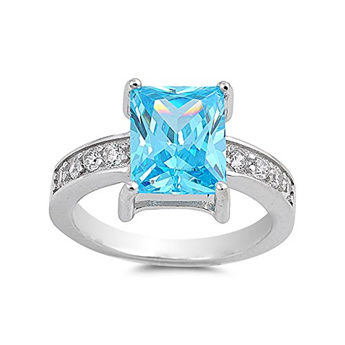 Topaz Radiant Blue Ring (Dazzling Accent Engagement Ring Radiant Cut Simulated Blue Topaz Round CZ 925 Sterling Silver)