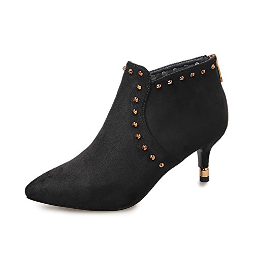 Ajunr New/Fashion/Work/High-Heel/Women Sandals Autumn and winter female boots sexy bare boots rivets Martin boots fine heel sharp head middle heel low heel 5CM suede shoes Black w0Shmr