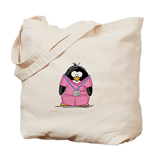 CafePress Nurse Penguin Natural Canvas Tote Bag, Cloth Shopping Bag