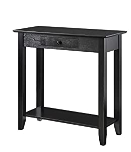 Elegant Convenience Concepts American Heritage Hall Table With Drawer And Shelf,  Black