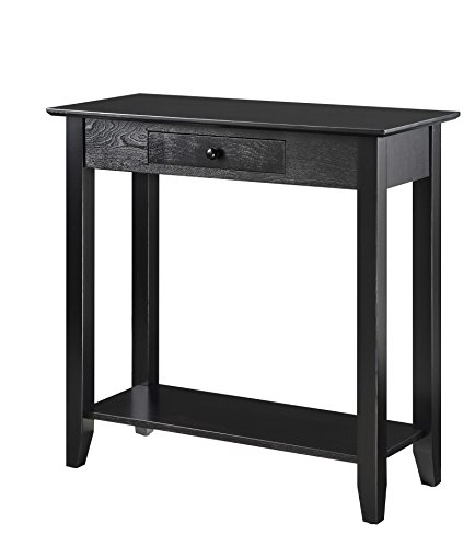 Convenience Concepts American Heritage Hall Table with Drawer and Shelf, Black (American Heritage Hall Table)