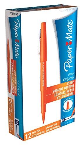 Paper Mate Flair Felt Tip Pens, Medium Point, Orange, 12-Count