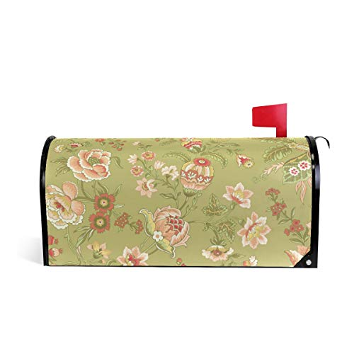 (DJROW Green Jacobean Pattern Magnetic Mailbox Cover Decorative Mailbox Wrap for Standard Size 52.6x45.8cm)