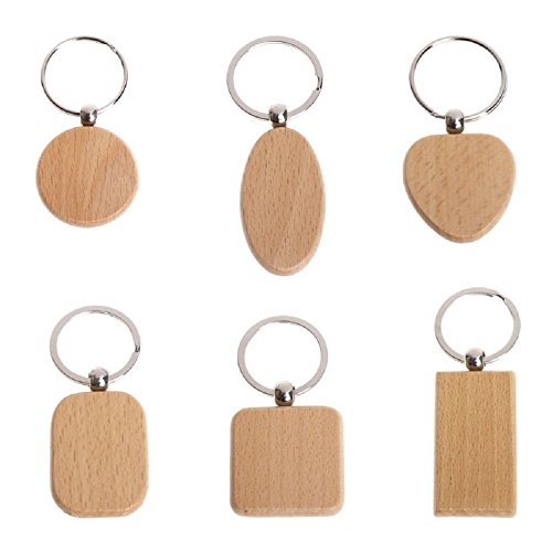 (6pcs Natural Wooden Keychain, Engravable Key Ring, Square, Rectangle, Heart, Round Shape Key Tag for Family and Friends Features Gifts)