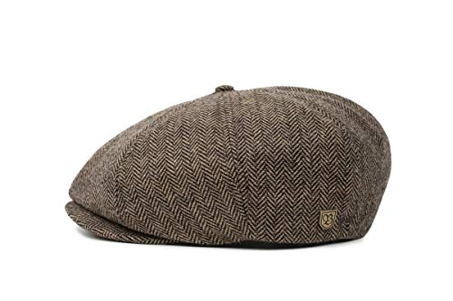 Brixton Men's Brood Newsboy Snap Hat, Brown/Khaki Herringbone, X-Large