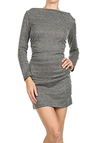Tweed Mini Dress (ReneeC. Women's Long Sleeve Boat Neck Dress - Ladies Tweed Mini Dress - Heather Grey-L)