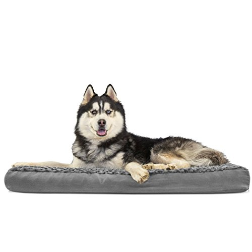FurHaven Pet Dog Bed | Deluxe Memory Foam Ultra Plush Mattress Pet Bed for Dogs & Cats, Gray, Jumbo ()