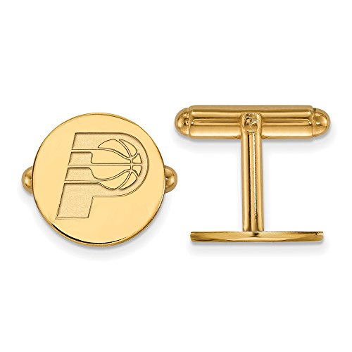 NBA 14k Yellow Gold Plated Sterling Silver Indiana Pacers Cuff Links by LogoArt