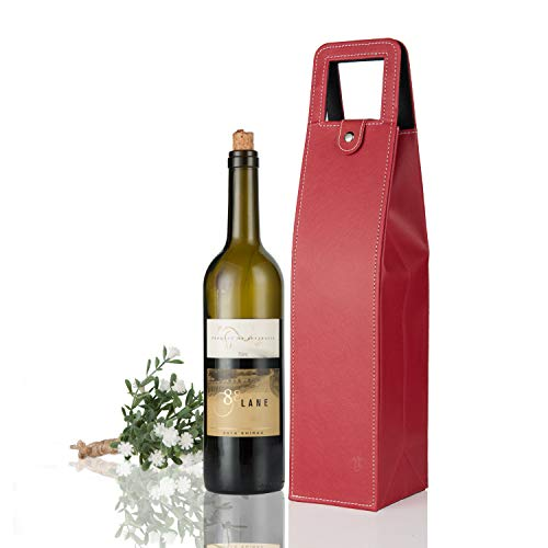 (Yunko Upscale Leather Wine Bottle Protector Wine Tote Carrier Bag Reusable Gift Bag Single Wine Champagne Bottle Carrier Case Portable Travel Accessory (Red) )