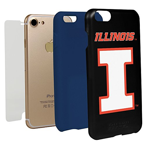 Guard Dog Black Hybrid Case for iPhone 7/8 and Guard Glass Screen Protector (Illinois Fighting Illini)