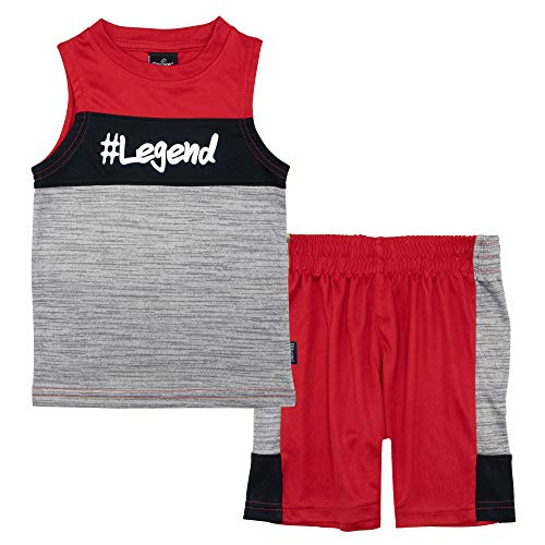 (Spalding Boys Athletic Graphic Crewneck T Shirt Sleeveless Muscle Top and Shorts Gym Set, RED/Grey, 4T)