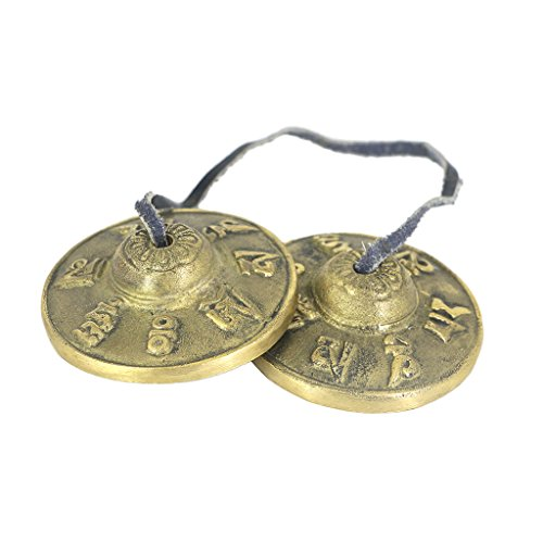 MagiDeal 1 Pair Brass Cymbal Bell Chimes Tibetan Buddhist Style Tingsha Meditation Yoga Accessory by non-brand