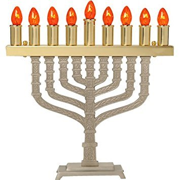 (Pewter Electric Menorah with Brass Finish)