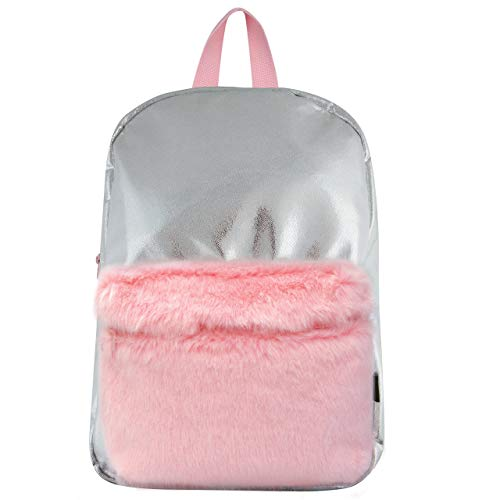 Style Labs MINI Silver Shimmer Backpack with Faux Fur Pocket ()