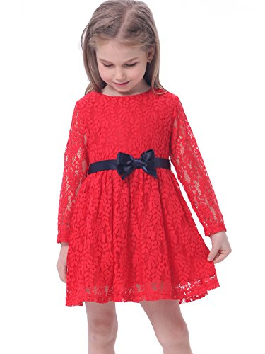[Bonny Billy Girls Long Sleeve Midi Lace Party Kids Dress with Bow Sash 5-6 Years Red] (50 Outfits For Kids)