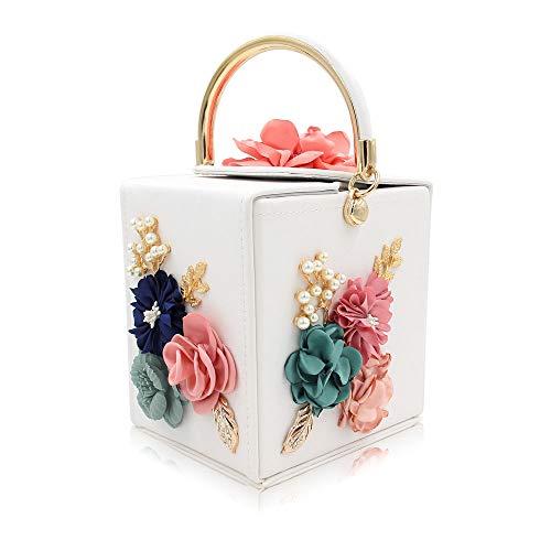 FFLLAS Con Perla Per Tote Confezione Cena Per Fiore Sacchetto Semplice 2 La Con Ricamo Fashion Quadrato rvq6rPgA