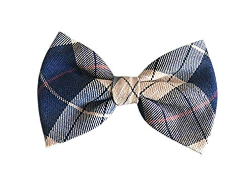 THE DOK Navy Brown Scotch – Dog Cat Pet Bow Tie Bowtie Collar Accessory 4 inch