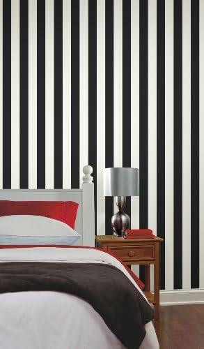York Wallcoverings Disney Kids DK5994 Silk Stripe Wallpaper Black//White