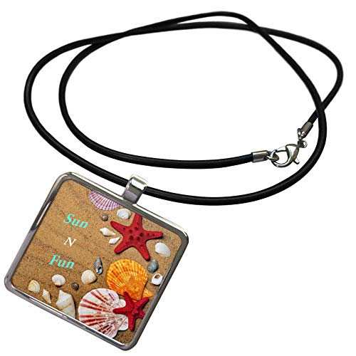 Shell Rectangle Pendant - 3dRose Lens Art by Florene - Beach and Tropical Art - Image of Words Sun and Fun On Beach with Red Starfish Shells - Necklace with Rectangle Pendant (ncl_307721_1)