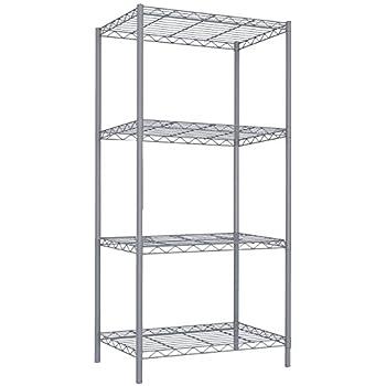 Home Basics Wire Shelving Storage Unit (4 Tier, Grey)