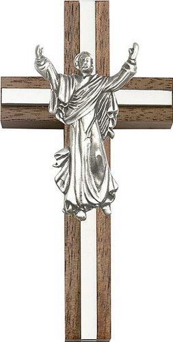 Icecarats Créatrice De Bijoux 4 Pouces Contemporaine Croix Christ Ressuscité, Noyer Antique Incrustation W / Argent