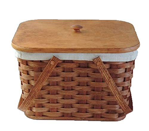AMISH BASKETS AND BEYOND Amish Handmade Small Picnic Basket w/Swinging Handles in NATURALw/Liner