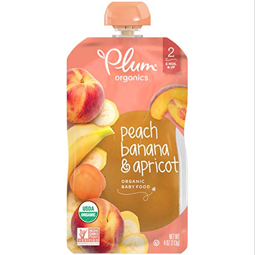 Plum Organics Stage 2, Organic Baby Food, Peach, Banana & Apricot, 4 oz. pouch (Pack of 12)