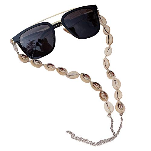 ADDJ Eyeglasses Chains Eyewear Strap Sunglasses Holder Reading Glasses Retainer Lanyard Cowrie Shell Conch (Natural Conch - Shell Chain