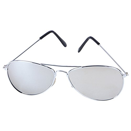 Rhode Island Novelty Aviator Sunglasses with Chrome One Way Mirror Lens and w/ 400 UV Protection
