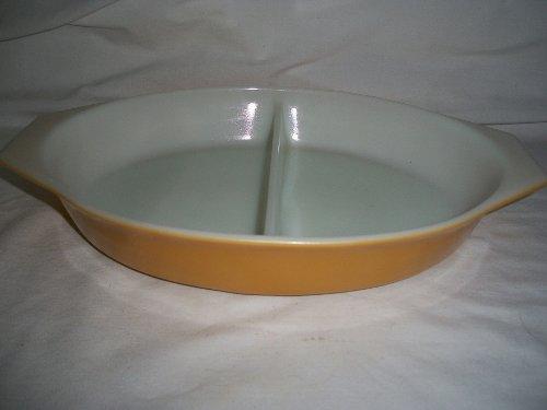 Pyrex (No. 063) Gold Mustard Yellow Oval Divided Casserole Baking Dish Bowl (1.5 qt)